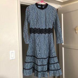 908e0c6c5d Metisu Dresses - Blue Hollow Out Lace Swing Midi Dress